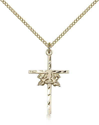 Doves Cross Pendant, Gold Filled - Gold-tone