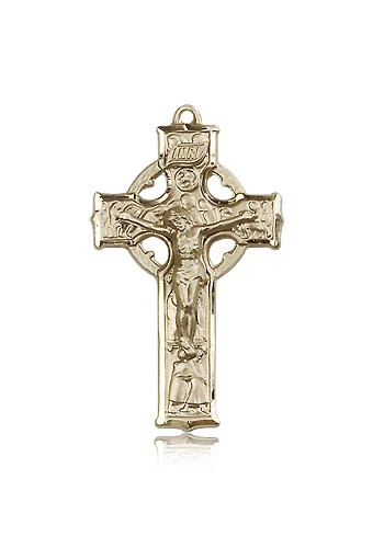 Celtic Crucifix Pendant, 14 Karat Gold - 14 KT Yellow Gold