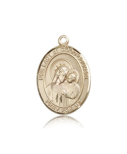 Our Lady of Good Counsel Medal, 14 Karat Gold, Large - 14 KT Yellow Gold