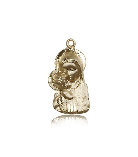 Madonna and Child Medal, 14 Karat Gold - 14 KT Yellow Gold