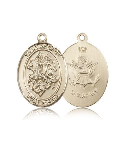 St. George Army Medal, 14 Karat Gold, Large - 14 KT Yellow Gold
