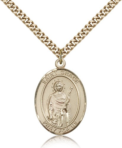 "St. Grace Medal, Gold Filled, Large - 24"" 2.4mm Gold Plated Chain + Clasp"