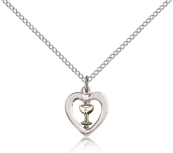 "Heart Chalice Medal, Two-Tone - 18"" 1.2mm Sterling Silver Chain + Clasp"