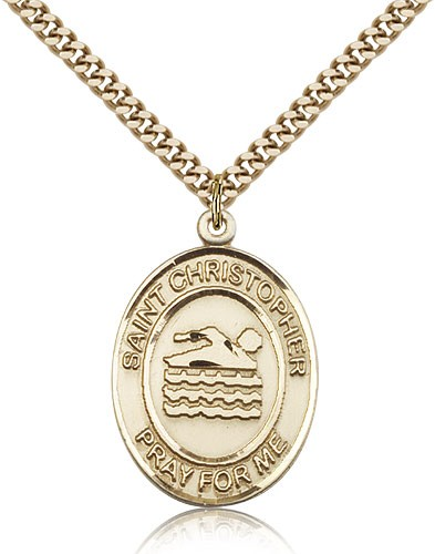 "St. Christopher Swimming Medal, Gold Filled, Large - 24"" 2.4mm Gold Plated Chain + Clasp"
