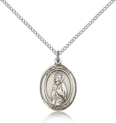 "St. Alice Medal, Sterling Silver, Medium - 18"" 1.2mm Sterling Silver Chain + Clasp"