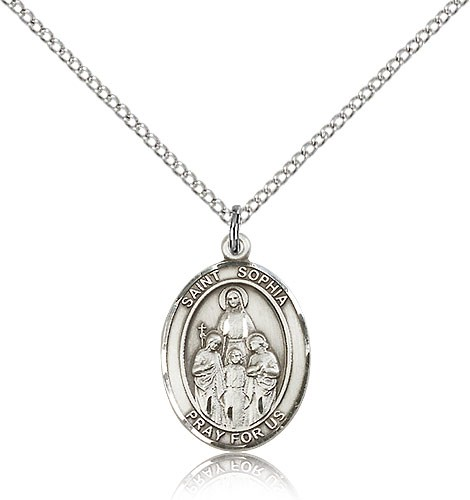 "St. Sophia Medal, Sterling Silver, Medium - 18"" 1.2mm Sterling Silver Chain + Clasp"