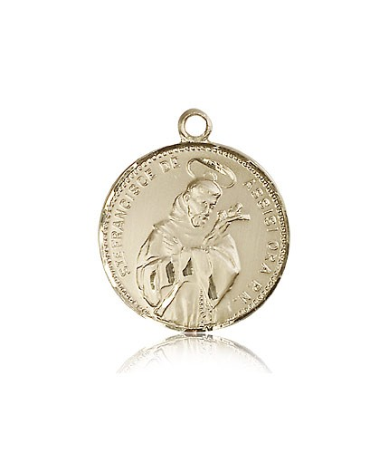 St. Francis of Assisi Medal, 14 Karat Gold - 14 KT Yellow Gold