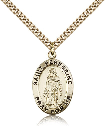 "St. Peregrine Medal, Gold Filled - 24"" 2.4mm Gold Plated Endless Chain"
