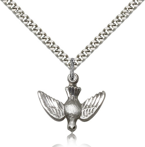 "Holy Spirit Medal, Sterling Silver - 24"" 2.4mm Rhodium Plate Endless Chain"