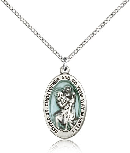 "St. Christopher Medal, Sterling Silver - 18"" 1.2mm Sterling Silver Chain + Clasp"