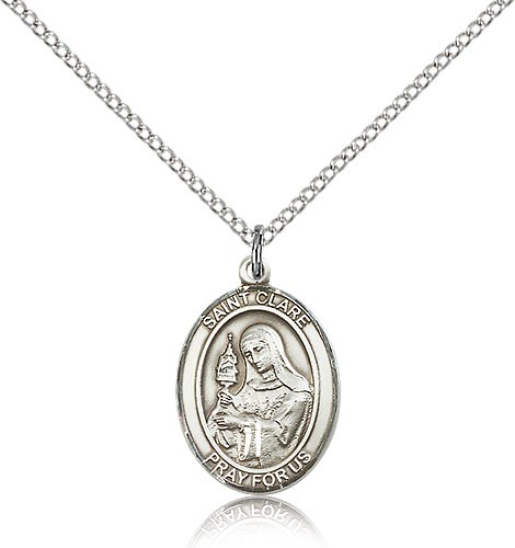 "St. Clare of Assisi Medal, Sterling Silver, Medium - 18"" 1.2mm Sterling Silver Chain + Clasp"