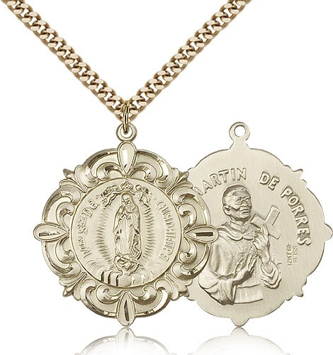 "Our Lady of Guadalupe Medal, Gold Filled - 24"" 2.4mm Gold Plated Endless Chain"