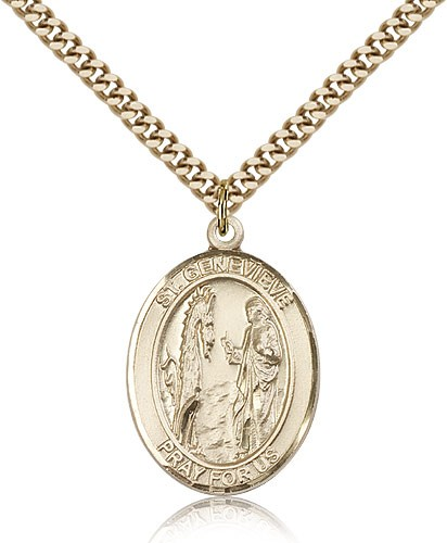 "St. Genevieve Medal, Gold Filled, Large - 24"" 2.4mm Gold Plated Chain + Clasp"