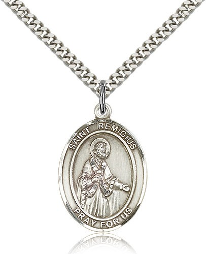 "St. Remigius of Reims Medal, Sterling Silver, Large - 24"" 2.4mm Rhodium Plate Chain + Clasp"