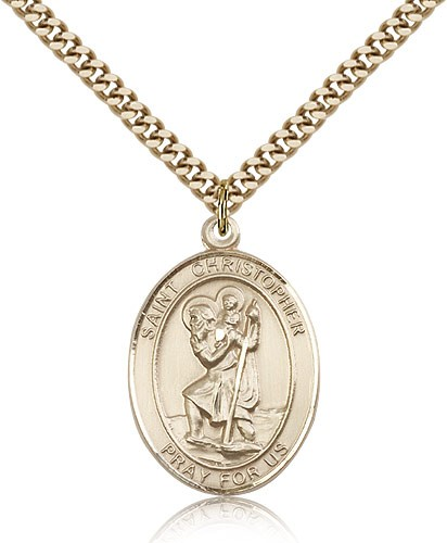 "St. Christopher Medal, Gold Filled, Large - 24"" 2.4mm Gold Plated Chain + Clasp"