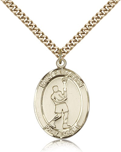 "St. Sebastian Lacrosse Medal, Gold Filled, Large - 24"" 2.4mm Gold Plated Chain + Clasp"