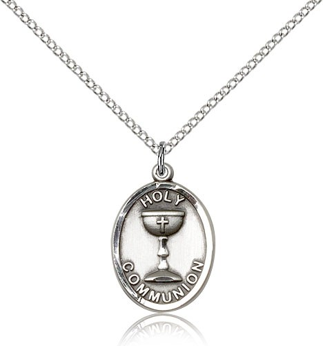 "Holy Communion Medal, Sterling Silver - 18"" 1.2mm Sterling Silver Chain + Clasp"