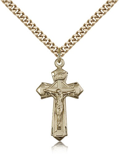 "Crucifix Pendant, Gold Filled - 24"" 2.4mm Gold Plated Endless Chain"