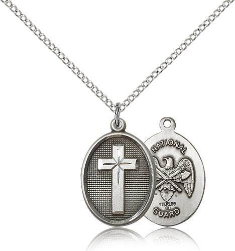 "National Guard Cross Pendant, Sterling Silver - 18"" 1.2mm Sterling Silver Chain + Clasp"