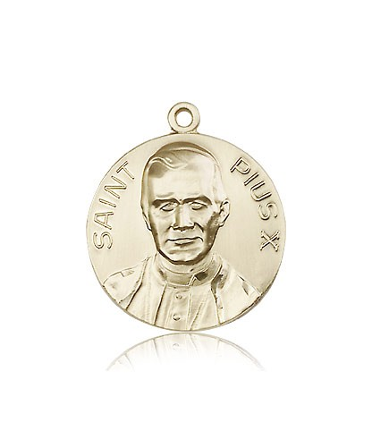 Pope Pius X Medal, 14 Karat Gold - 14 KT Yellow Gold
