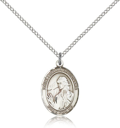 "St. Finnian of Clonard Medal, Sterling Silver, Medium - 18"" 1.2mm Sterling Silver Chain + Clasp"