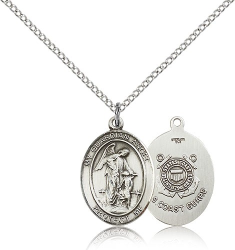 "Guardian Angel Coast Guard Medal, Sterling Silver, Medium - 18"" 1.2mm Sterling Silver Chain + Clasp"