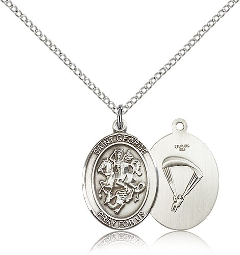 "St. George Paratrooper Medal, Sterling Silver, Medium - 18"" 1.2mm Sterling Silver Chain + Clasp"