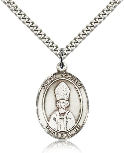 "St. Anselm of Canterbury Medal, Sterling Silver, Large - 24"" 2.4mm Rhodium Plate Chain + Clasp"