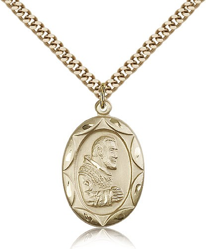 "St. Pio of Pietrelcina Medal, Gold Filled - 24"" 2.4mm Gold Plated Endless Chain"