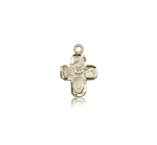 4 Way Cross Pendant, 14 Karat Gold - 14 KT Yellow Gold