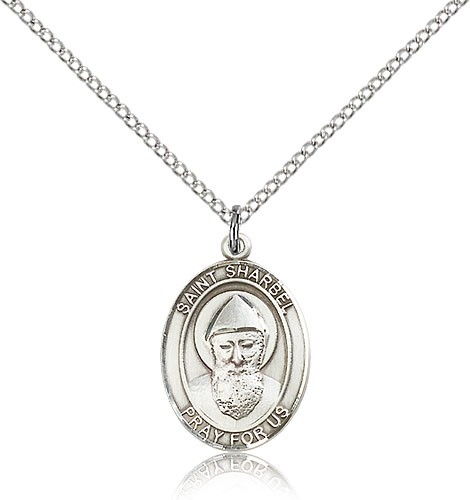 "St. Sharbel Medal, Sterling Silver, Medium - 18"" 1.2mm Sterling Silver Chain + Clasp"