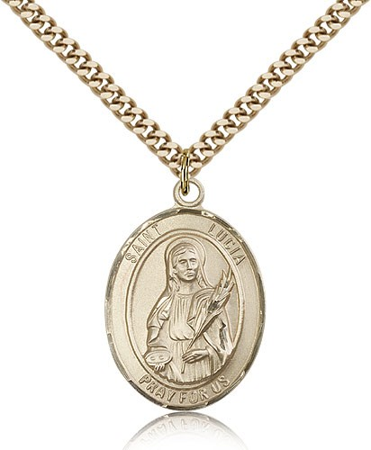 "St. Lucia of Syracuse Medal, Gold Filled, Large - 24"" 2.4mm Gold Plated Chain + Clasp"