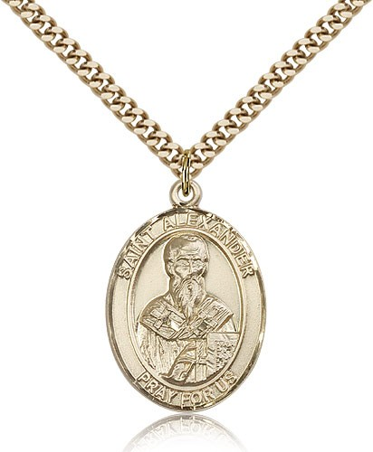 "St. Alexander Sauli Medal, Gold Filled, Large - 24"" 2.4mm Gold Plated Chain + Clasp"