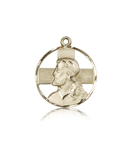 Head of Christ Medal, 14 Karat Gold - 14 KT Yellow Gold