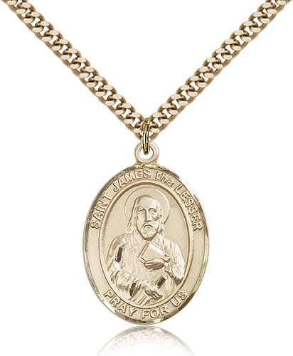 "St. James the Lesser Medal, Gold Filled, Large - 24"" 2.4mm Gold Plated Chain + Clasp"
