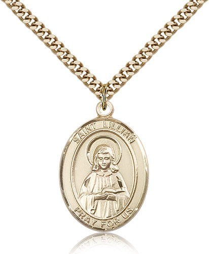 "St. Lillian Medal, Gold Filled, Large - 24"" 2.4mm Gold Plated Chain + Clasp"