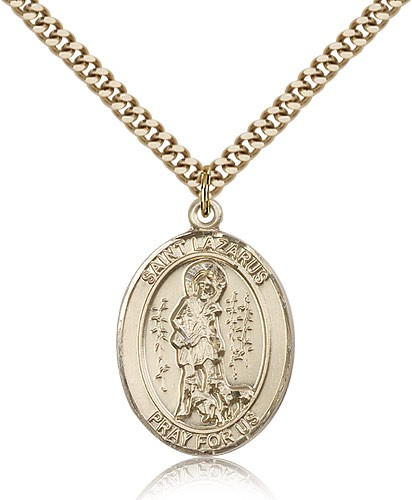 "St. Lazarus Medal, Gold Filled, Large - 24"" 2.4mm Gold Plated Chain + Clasp"