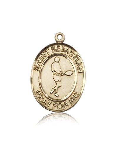 St. Sebastian Tennis Medal, 14 Karat Gold, Large - 14 KT Yellow Gold
