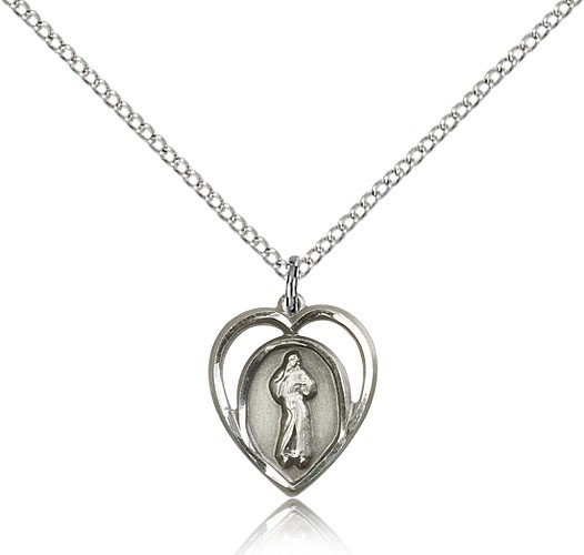 "Divine Mercy Medal, Sterling Silver - 18"" 1.2mm Sterling Silver Chain + Clasp"