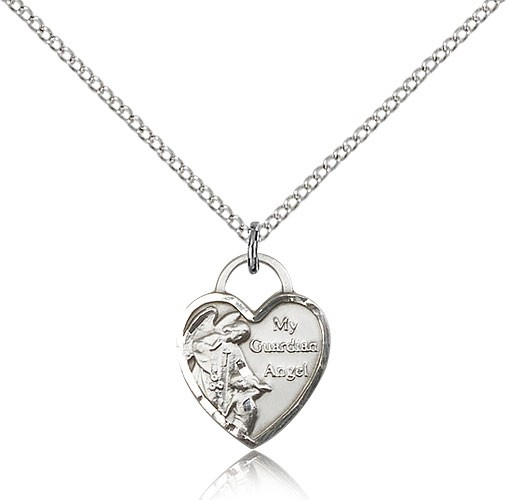 "Guardian Angel Heart Medal, Sterling Silver - 18"" 1.2mm Sterling Silver Chain + Clasp"