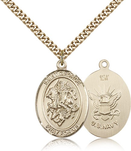 "St. George Navy Medal, Gold Filled, Large - 24"" 2.4mm Gold Plated Chain + Clasp"