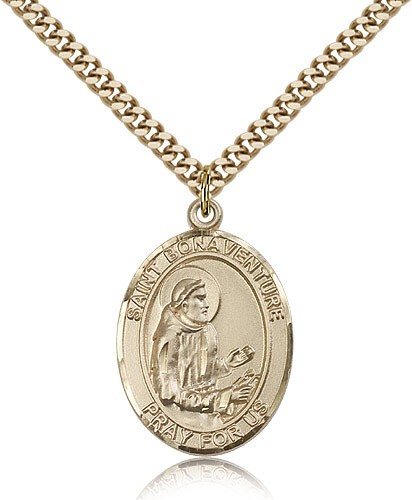 "St. Bonaventure Medal, Gold Filled, Large - 24"" 2.4mm Gold Plated Chain + Clasp"