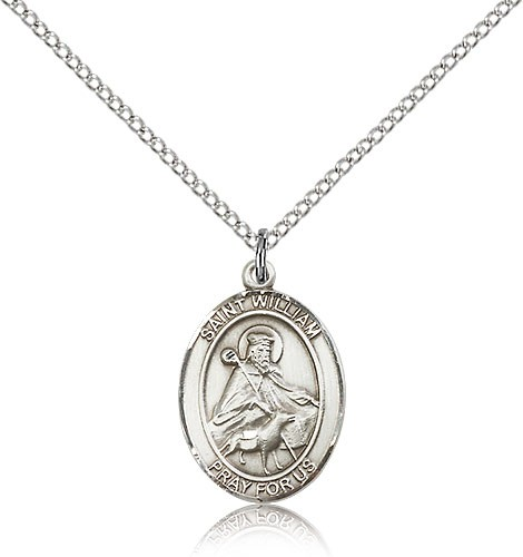 "St. William of Rochester Medal, Sterling Silver, Medium - 18"" 1.2mm Sterling Silver Chain + Clasp"
