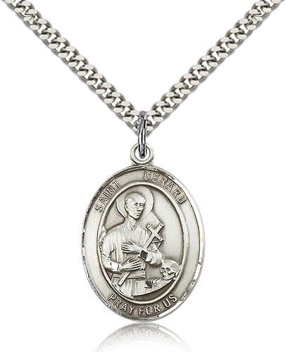 "St. Gerard Majella Medal, Sterling Silver, Large - 24"" 2.4mm Rhodium Plate Chain + Clasp"