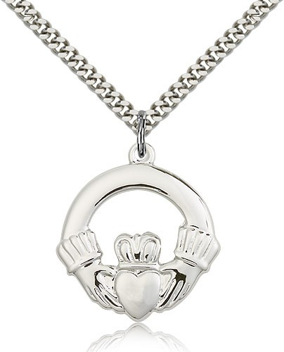 "Claddagh Medal, Sterling Silver - 24"" 2.4mm Rhodium Plate Endless Chain"