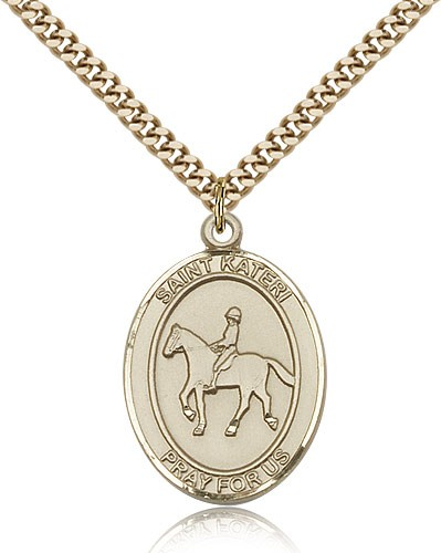 "St. Kateri Equestrian Medal, Gold Filled, Large - 24"" 2.4mm Gold Plated Chain + Clasp"