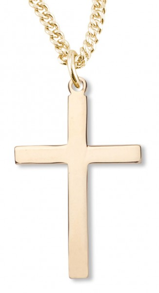 Womens or boys 14kt gold over sterling silver plain cross necklace womens or boys 14kt gold over sterling silver plain cross necklace 20 inch gold plated chain clasp aloadofball Image collections
