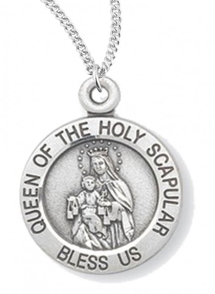 "Women's Queen of the Holy Scapular Necklace, Sterling  Silver with Chain Options - 18"" 2.1mm Rhodium Plate Chain + Clasp"