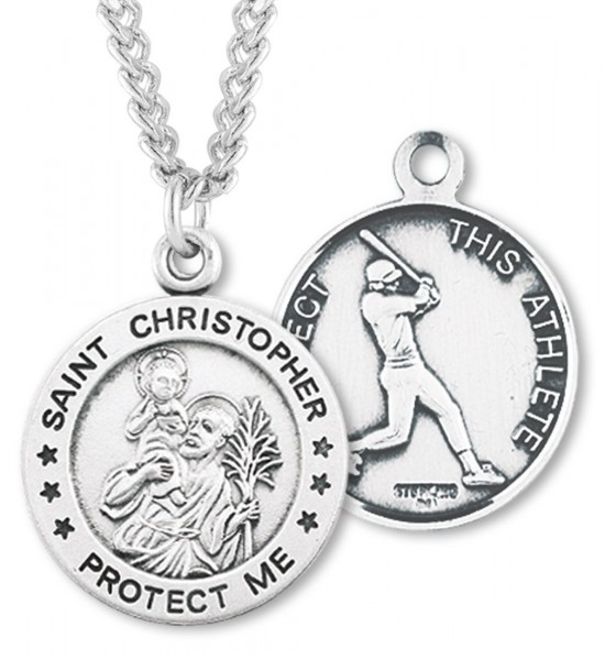 "Round Men's St. Christopher Baseball Necklace With Chain - 24"" 2.4mm Rhodium Plate Chain + Clasp"