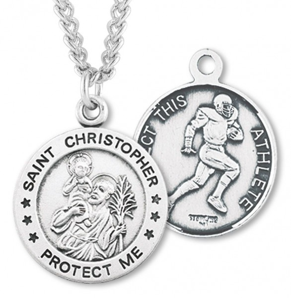 "Round Boy's St. Christopher Football Necklace With Chain - 24"" Sterling Silver Chain + Clasp"